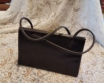 Vintage Kelly Style Purse Made in England Handbag Real Leather Brown