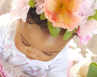 Pink & Peach Floral Crown Headband