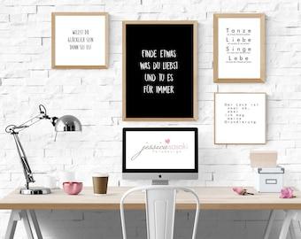Wanddekoration, Bild, Druck, Spruch, Wortart, Deko, Designobjekt, Print