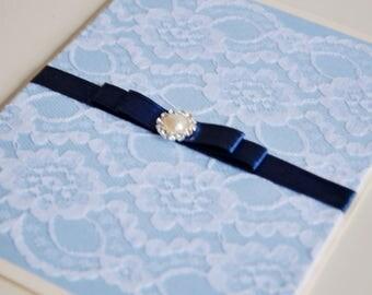 Wedding Invitation Handmade Lace Blue Elegant invitation card with ribbon