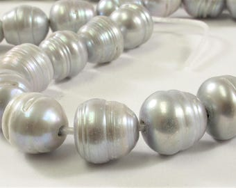 12-14mm Half Strand Large Hole Ringed Silver Gray Freshwater Pearl Beads, 2 mm Hole, Gray Large Hole Ringed Cultured Pearls (289-LHRWGY1214)