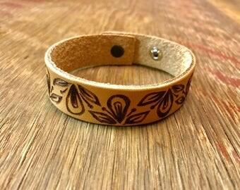 Leather Bracelet with Burned design