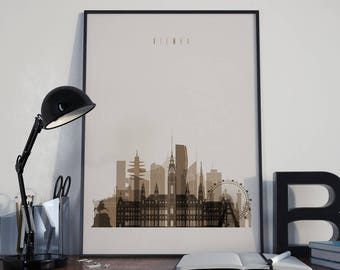 Vienna Art Vienna Watercolor Vienna Multicolor Vienna Wall Art Vienna Wall Decor Vienna Home Decor Vienna Skyline Vienna Print Vienna Poster