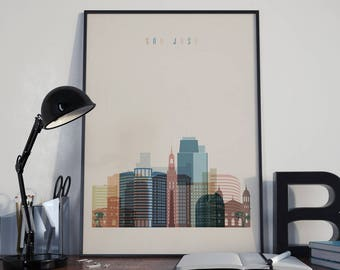San Jose Art San Jose Watercolor San Jose Wall Art San Jose Multicolor San Jose Print San Jose Wall Decor San Jose Poster San Jose Photo