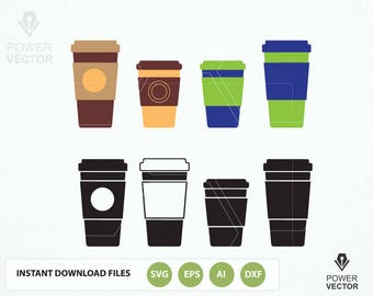 Coffee cup to go, cutting file, Png, Pdf, Eps, Dxf, Svg, Print and Cut Files. Coffee cup to go clip art instant download files