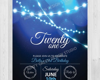 Blue String Light Invitation | 21st Invitation | 21st Birthday | 30th Birthday Invitation | Any Age Birthday | Sparkle