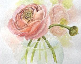 Pink ranunculus, original watercolor, original Painting, watercolor painting, pink flower, spring decor