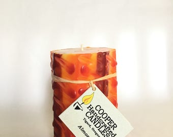 "4"" Tall Almond Scented Octagon Pillar Candle - Red, Orange, Yellow"
