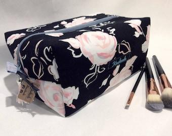 Large Cosmetic Bag, Make Up Bag, Toiletry Bag, Travel Bag. Large Box Shape Style. Made in Australia, Black, Pink, Pink Rose, Gift.