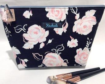 Large Deep Cosmetic Bag, Large Make Up Bag, Makeup Bag, Travel Bag, Toiletry Bag, Australian Made, Large Zipper Pouch, Black, Pink.