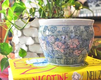 Vintage Ceramic Asian Inspired Floral Planter
