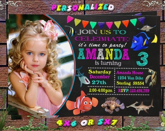 Finding Dory Invitation, Finding Dory Birthday Party, Finding Nemo Invitation, Under the Sea, Personalized, Printable