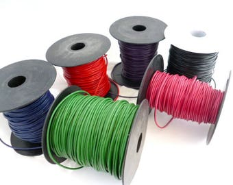 Colored Genuine Leather Cord/ Leather/ Fine Cords of 2 mm (0/7 in) pack 5 meters / 16,4 ft