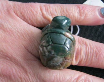 Agate turtle ring size P/Q