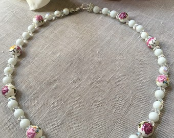 Handmade White necklace beaded pink flower