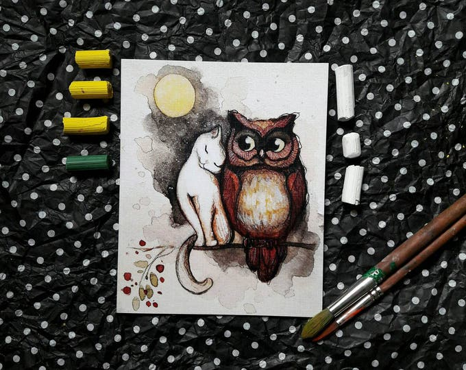 Cute LOVE card by Tatiana Boiko, cat and owl in love, gift, cure animals, moon, decor, lovely, nursery art, baby, kids, home