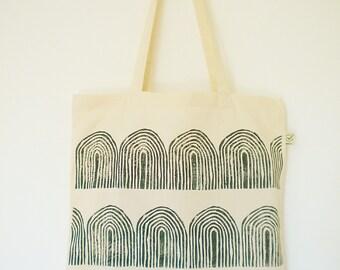 bio cotton linocut natural tote bag