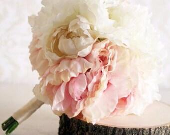 Silk Bride Bouquet Peony Flowers Peonies Shabby Chic Wedding Arrangement (Item Number MHD20049)