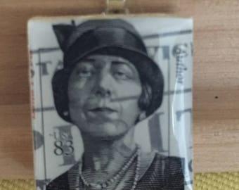 Women Author Postage Stamp Pendant