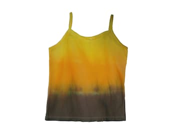 Yellow/Brown Fade Cotton Tie Dye Small Tank