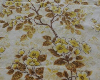 "Retro Vintage Mid Century Flower Power 70's Floral Cherry Blossom Brown, Cream and Yellow Curtain 53"" by 40"""