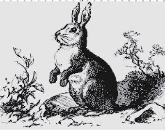 Classic Grey-scale Rabbit Cross Stitch Pattern (Pattern #006)