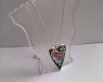 Silver Plated Ceramic Heart Mosaic Pendant Necklace