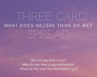 WHAT DOES he/she THINK of me? 3 card spread