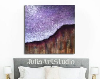 Palette knife, Original Painting, Purple Canvas Art,  Textured Acrylic Painting with Glitter