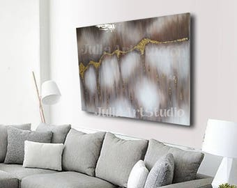 """Brown and Gold painting, Canvas art, Original canvas art,  glass look epoxy resin coating 28""""x22"""""""