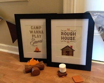 Set of 2, Framed Boys Room Camping Prints : Smore and Cabin