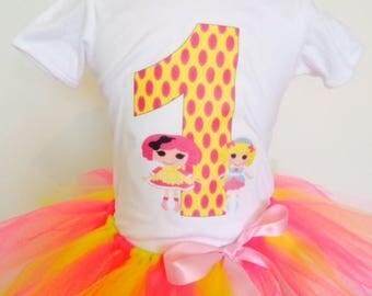 Lalaloopsy Birthday Outfit,Lalaloopsy Shirt,Lalaloopsy Tutu, Yellow and Pink Tutu,Custom Made,Cake smash outfit,any age,any name.