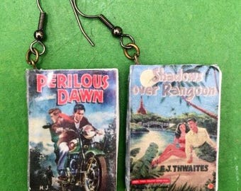 Miniature Book Vintage Pulp Fiction mEarrings