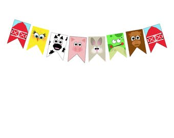 Farm party banner with cupcake toppers