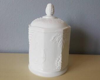 Vintage Milk Glass Canister. Cookie jar