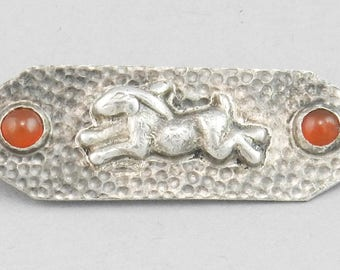 Antique circa 1900 Arts & Craft Period Signed CHINESE 800 Silver RABBIT Carnelian PIN