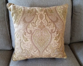 Exquisite 18x18 woven Damask pillow cover - Designer fabric