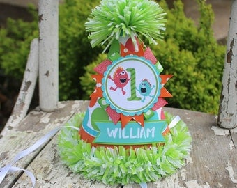Little Monster First Birthday Party Hat - Boy Monster Birthday - Boy First Birthday -Monster Birthday Party Decor
