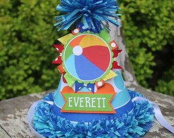 Beach Ball Party Hat - Beach Ball Birthday - First Birthday Party Decorations - Summer Birthday - First Birthday Outfit