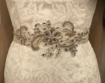 Ivory crystal/pearl beaded bridal sash belt