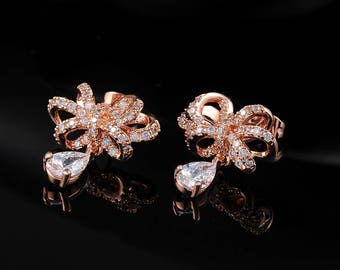 Rose gold crystal bow bridal earrings