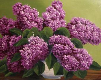 Vintage oil painting still life with lilacs