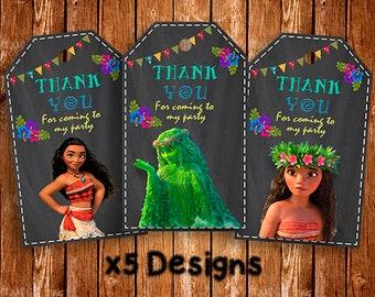 Moana Thank You Tags, Moana Favor Tags,  Moana Thank You Labels, Printable Tags, Birthday Thank You Tag, Maui Tag, Labels Moana, Chalkboard