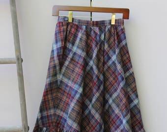 Vintage Flannel Midi Skirt