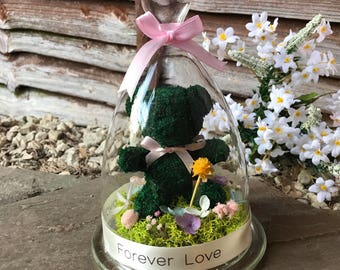 My Bear's Garden - floral arrangement made with preserved flowers, hydrangea and Preserved Norweigan reindeer moss prefect gift! Flower Gift