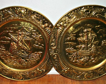 Vintage Pair of Brass Plates with Ships Embossed