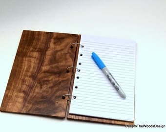 Wood Notebook - Solid Walnut Covered Notebook - Brown Notebook -Office Gift