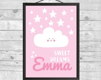 Pink and White Nursery Decor Sweet Dreams Custom Name, Kids wall art print Cloud Nursery Wall Art, Baby Nursery Wall Print, Nursery Print