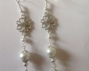 White pearl earrings Drop earrings long earrings dangle earrings Bridal earrings Bridesmaids earrings wedding jewellery