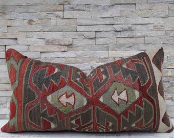 12x24 , Kilim pillow cover, Boho pillow, Home living, Wintage pillow, Home design, Decorative pillow, Turkish pillow, Kilim cushion